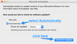 how to check for and install microsoft office updates for mac gps